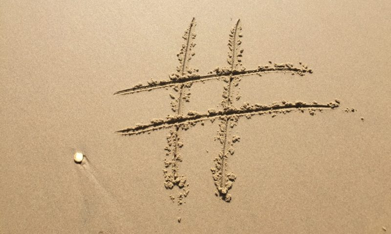 Hashtag in the sand