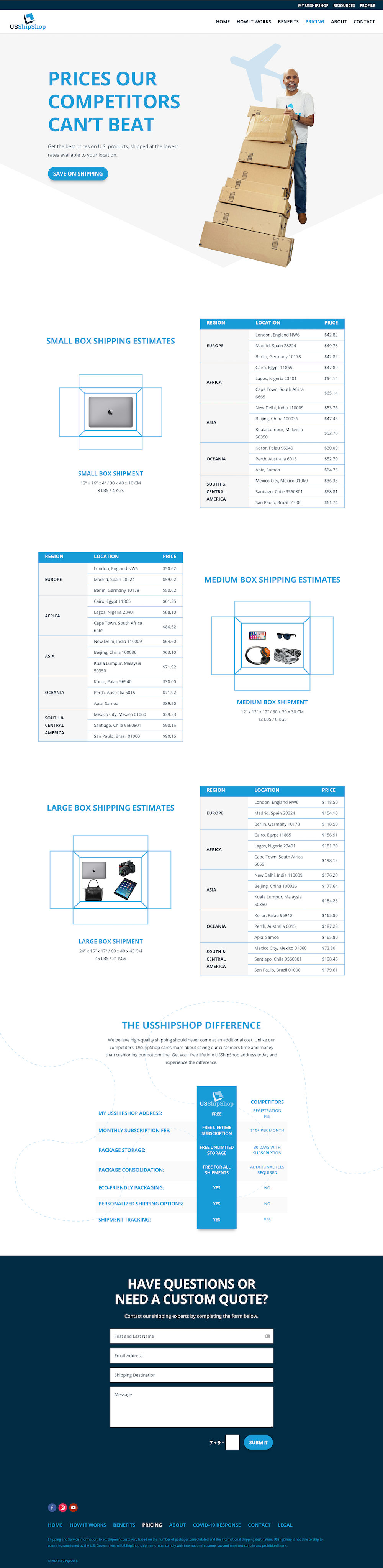 USShipShop Pricing Page