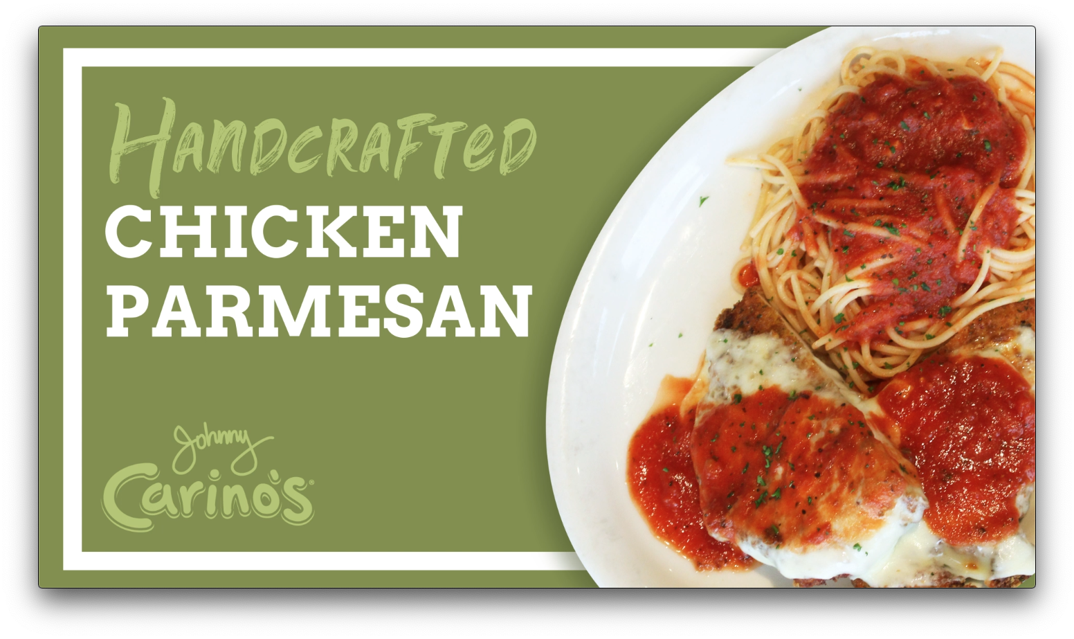 johnny carino's chicken parmesan motion graphic screenshot
