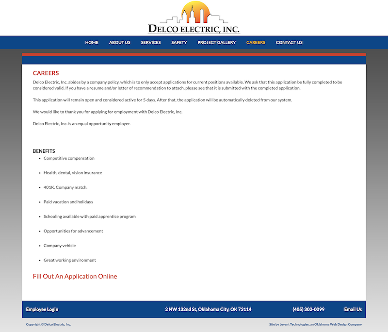Old Delco Electric Careers Page